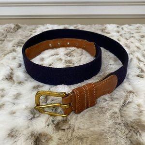 Coach Men's Brown Glove Wool Leather Navy Belt